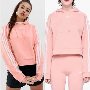 Adidas Cropped Hoodie In Pink Size Small 3 Stripe